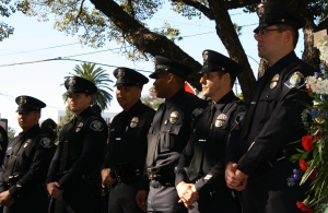 Officers from the Santa Ana Police and Santa Ana School Police departments.