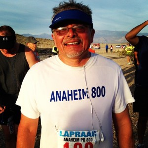 A retired captain from the Anaheim Police Department (CA) is pictured after running his 7.5 mile leg of the relay.  Photo courtesy of Joe Vargas.