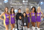 The Laker Girls pictured with Paula and an Anaheim Police Dispatcher.