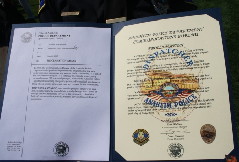 The 9-1-1 Proclamation Award issued by the Anaheim Police Department (CA).